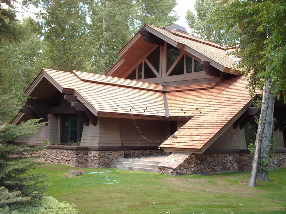 Sutton Place Residence-South Ketchum Fire-treated taper-sawn shake roofing & Professional Roofing memphite.com